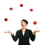 Saleswoman Juggling Upcoming Activities & Tasks